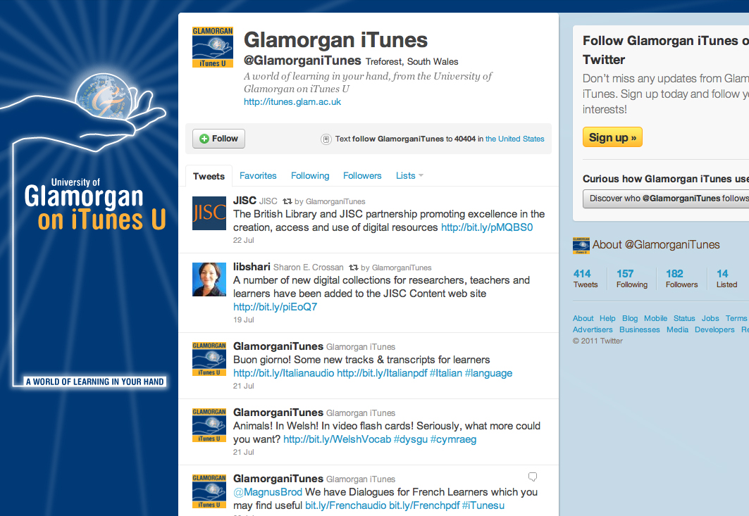University of Glamorgan's iTunes U Twitter page