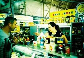 Encounter between shopper and shop assistant, Riga Central Market