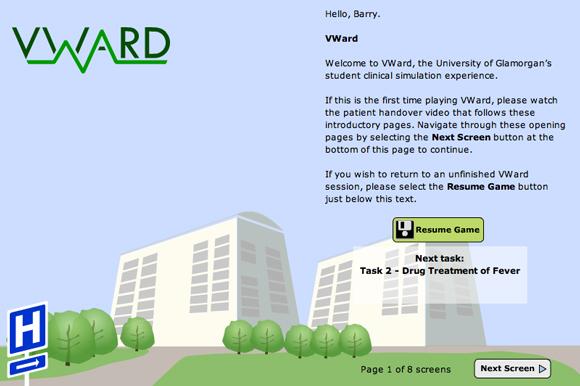 VWard opening page