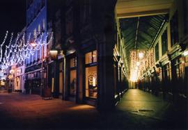 Nighttime photo of the Wyndham Arcade in Cardiff