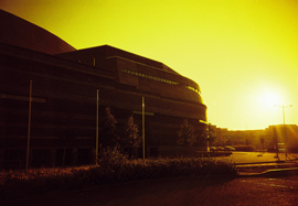 Photo of the Wales Millennium Centre, taken at sunset