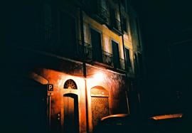 Nighttime photo of a street in Girona, Catalonia