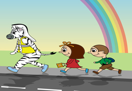 Illustration of anthropomorphisised Zebra and two children running along a street
