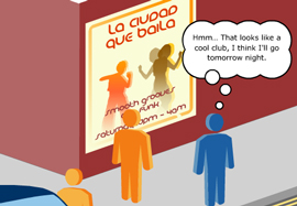 Illustrated stick-figures look at a poster for a nightclub